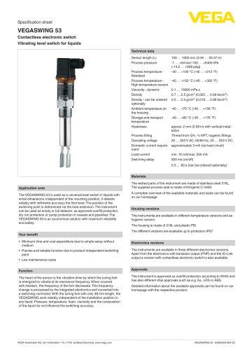 Specification sheet VEGASWING 53