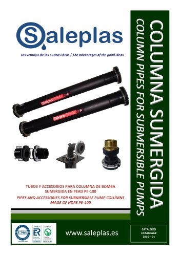 PIPES AND ACCESSORIES FOR SUBMERSIBLE PUMP COLUMNS MADE OF HDPE PE-100