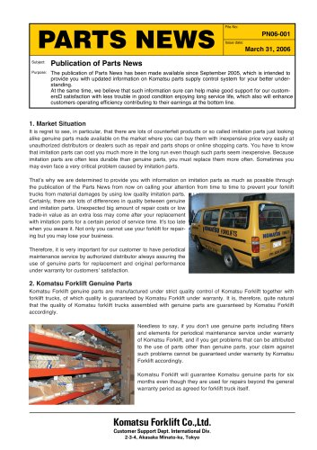 Genuine Spare Parts - KOMATSU FORKLIFT - PDF Catalogs | Technical