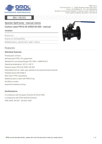 Carbon steel PN16-40 ANSI150-300 - manual version