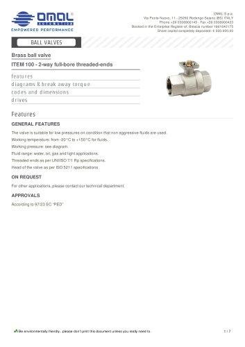 ITEM 100 - 2-way full-bore threaded-ends