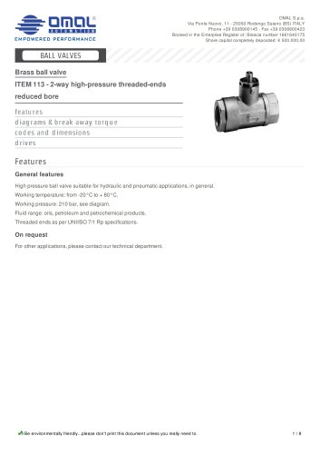 ITEM 113 - 2-way high-pressure threaded-ends reduced bore