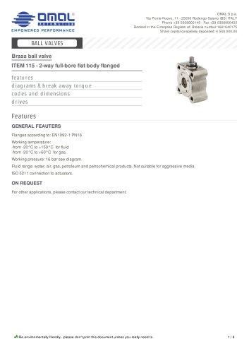 ITEM 115 - 2-way full-bore flat body flanged