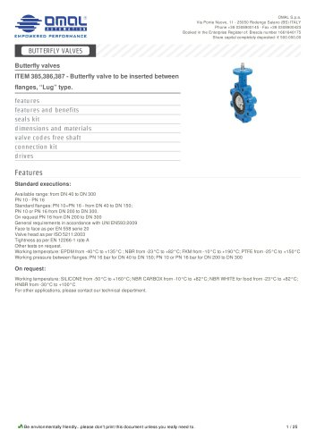 ITEM 385,386,387 - Butterfly valve to be inserted between flanges, ?Lug? type.
