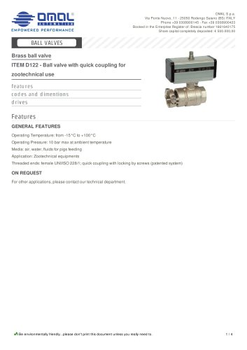 ITEM D122 - Ball valve with quick coupling for zootechnical use