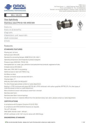 Stainless steel PN 63-100 ANSI 600