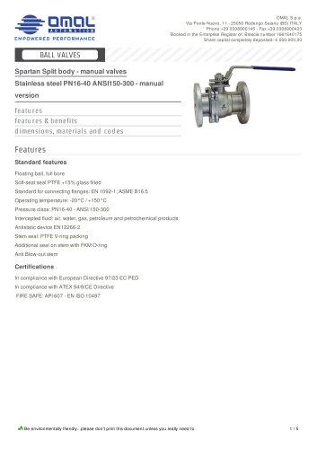 Stainless steel PN16-40 ANSI150-300 - manual version