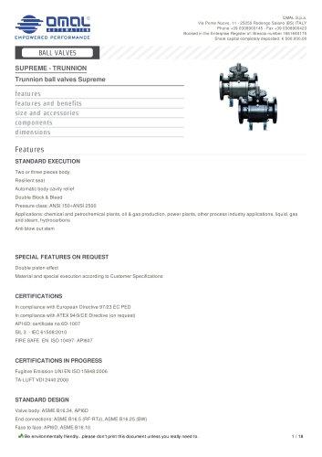 Trunnion ball valves Supreme