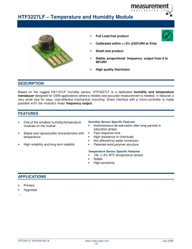 Humidity and Temperature Sensor - HTF3227LF