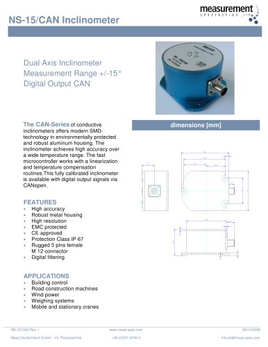 Position Sensor - NS-15/CAN Inclinometer