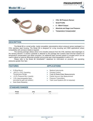 Pressure Sensor - Model 86 5psi