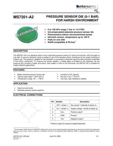Pressure Sensor - Model MS7201-A2