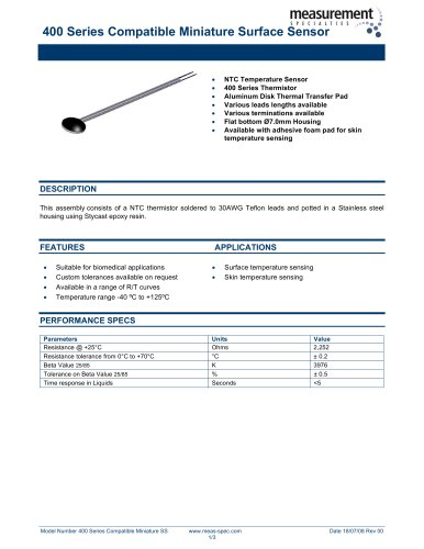 Temperature Sensor - 400 Series Compatible Miniature Surface Sensor