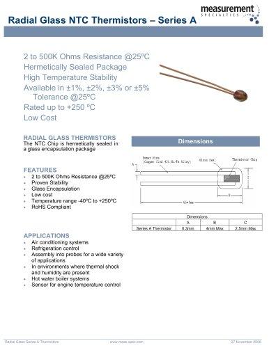 Temperature Sensor - Radial Glass NTC Thermistors Series A