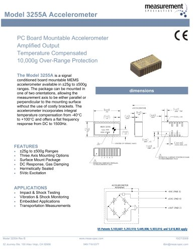 Vibration Sensor - Model 3255A Accelerometer