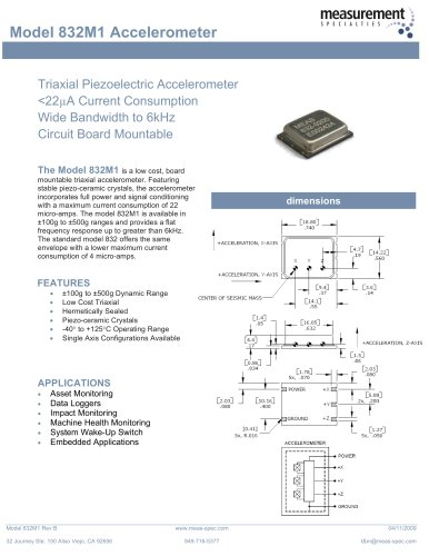 Vibration Sensor - Model 832M1 Accelerometer