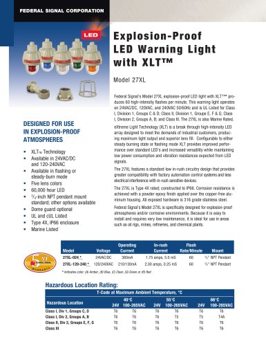 27XL Explosion-Proof LED Warning Light with XLT?