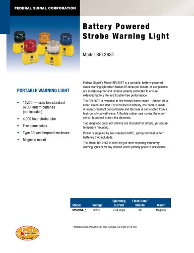 BPL26ST Battery Powered Strobe Warning Light