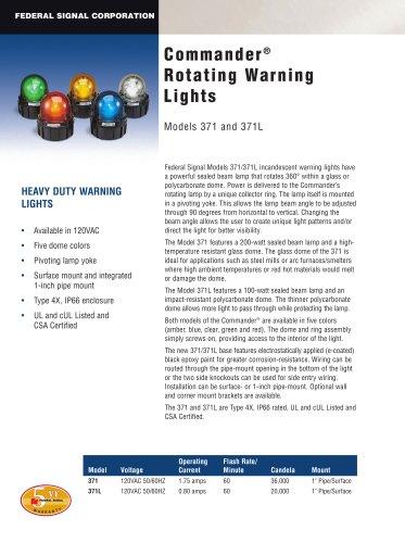 Commander® Rotating Warning Lights 371 and 371L