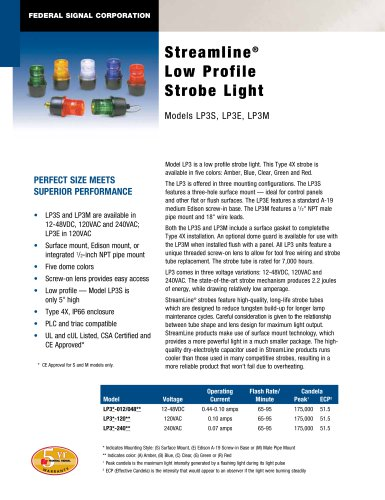 LP3E StreamLine® Low Profile Strobe Light