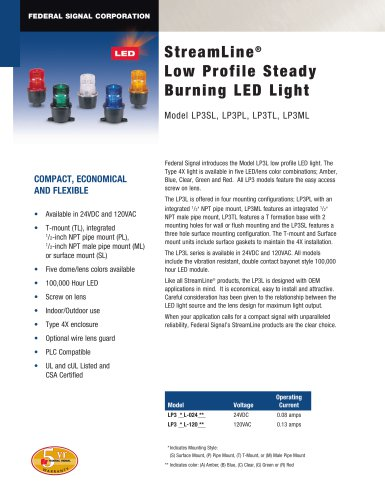 LP3PL StreamLine® Low profile, Steady Burning LED Light
