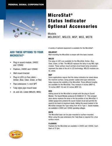 MSLBRCKT, MSLED, MSP, MSS, MSTB MicroStat® Status Indicator Optional Accessories
