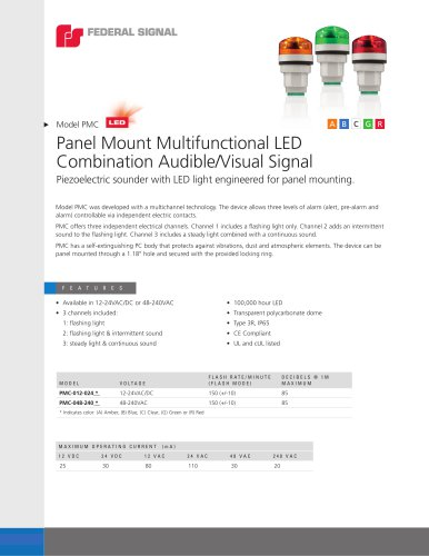 PMC Panel Mount Multifunctional LED Combination Audible/Visual Signal
