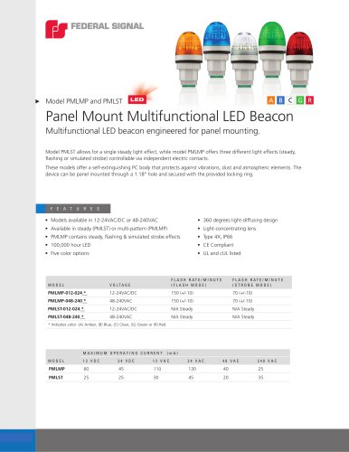 PMLMP and PMLST Panel Mount Multifunctional LED Beacon