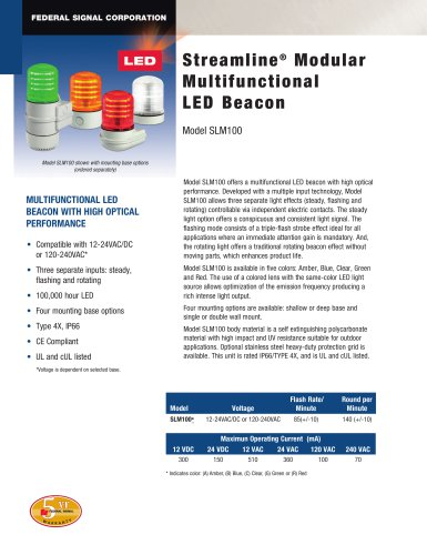 SLM100 StreamLine® Modular Multifunctional LED Beacon