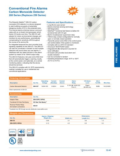 Conventional Fire Alarms Carbon Monoxide Detector 260 Series
