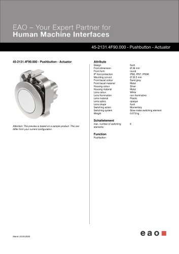 45-2131.4F90.000 - Pushbutton - Actuator