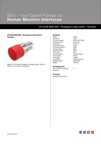 45-2C36.2820.000 - Emergency stop switch - Actuator