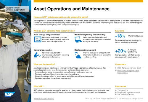 Asset Operations and Maintenance
