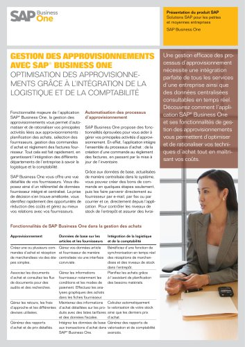 livraiGestion des approvisionnements avec SAP ® Business One