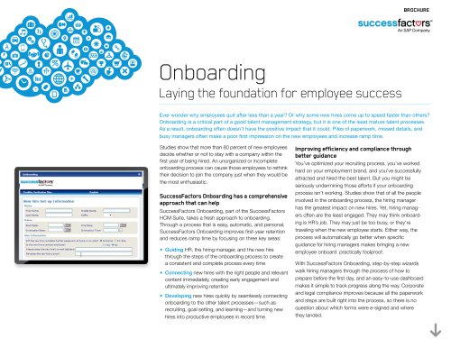 Onboarding Laying the foundation for employee success