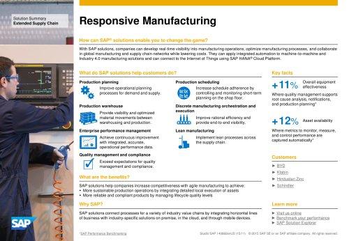 Responsive Manufacturing