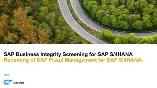SAP Business Integrity Screening for SAP S/4HANA
