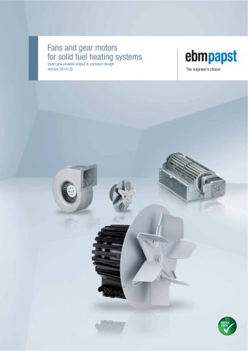Fans and gear motors for solid fuel heating systems