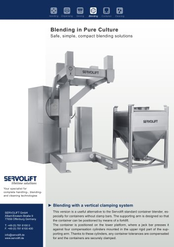 Blending with a vertical clamping system