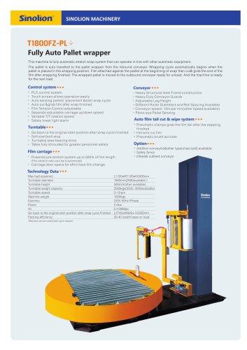 Sinolion Fully Auto Pallet wrapper  T1800FZ-PL