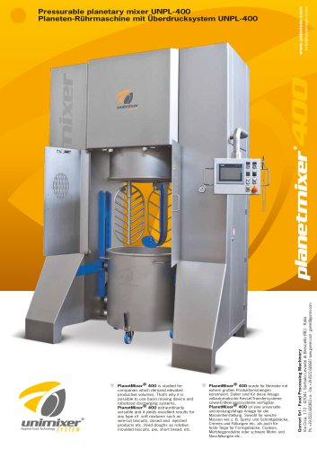 Pressurable planetary mixer UNPL-400