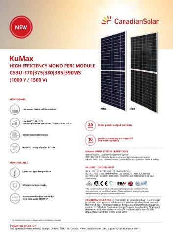 KuMax CS3U-370|375|380|385|390MS - Canadian Solar EMEA - PDF