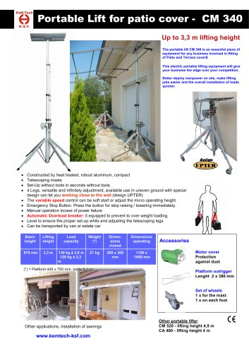 Portable Lift for Patio and Terrace Cover