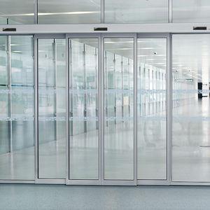 portas telescópicas / de correr / para peões / em alumínio