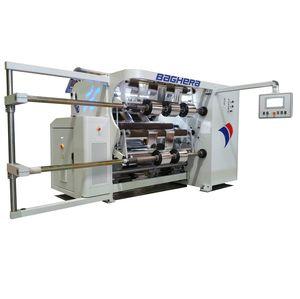 rebobinadeira-cortadeira longitudinal para filme plástico