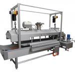 fritadeira industrial de funcionamento contínuo / de legumes / com sistema transportador / para pratos pré-cozinhados